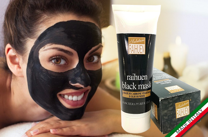 maschera nera al carbone black mask made in italy